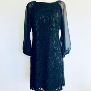 Adrianna Papell Black Lace Exposed Zip Dress